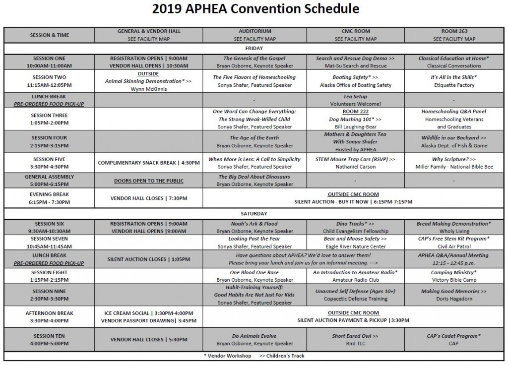 2019 APHEA Convention Schedule - Finalized